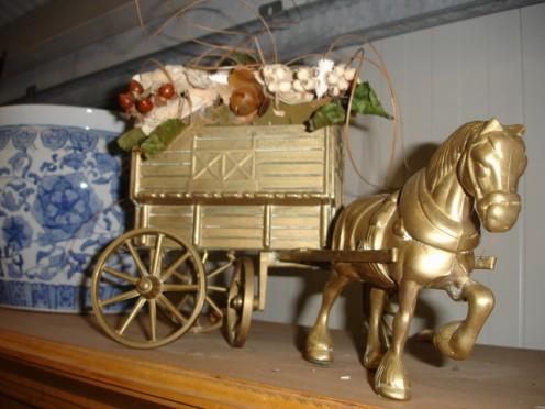 Koperen paard + wagen